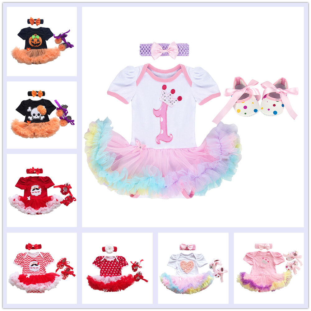 Girls Baby 1st Birthday Outfits 3pcs Toddler Romper Tutu