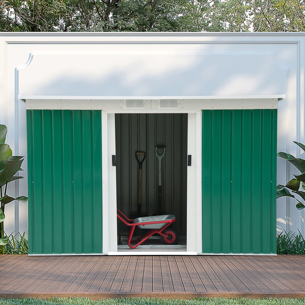 9x4 outdoor garden storage shed steel garage utility tool for Utility storage shed