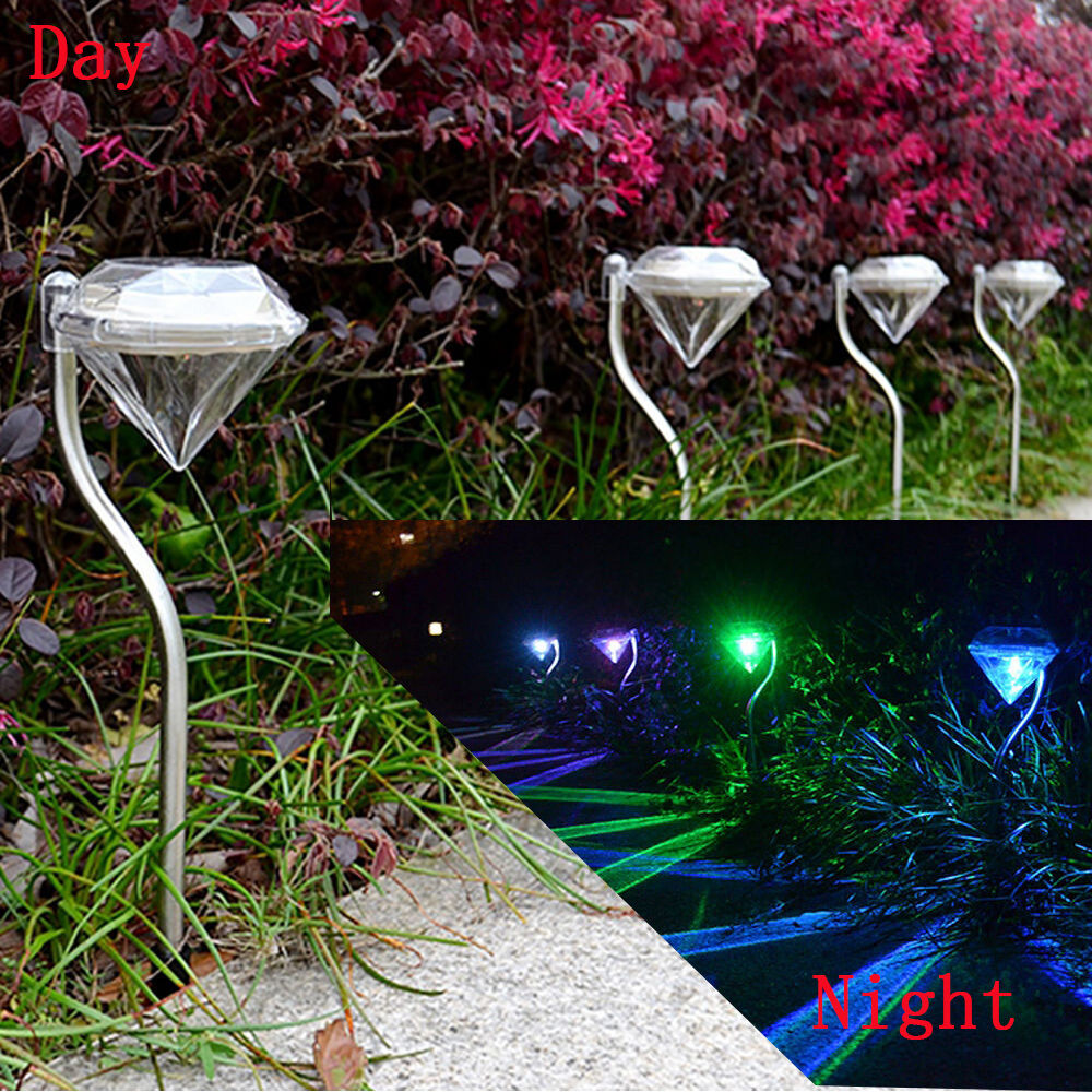 4 waterproof led solar power yard path garden lawn for Led yard lights