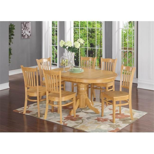Piece Formal Dining Room Set Oval Dinette Table With Leaf And 6 Dining