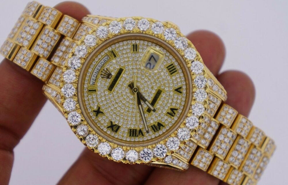 rolex day date ii 2 president yellow fully iced out 33