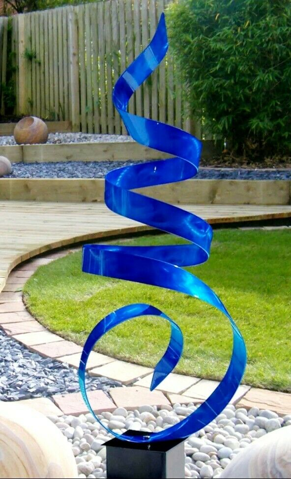 Large Blue Outdoor Yard Sculpture, Modern Abstract Metal ...