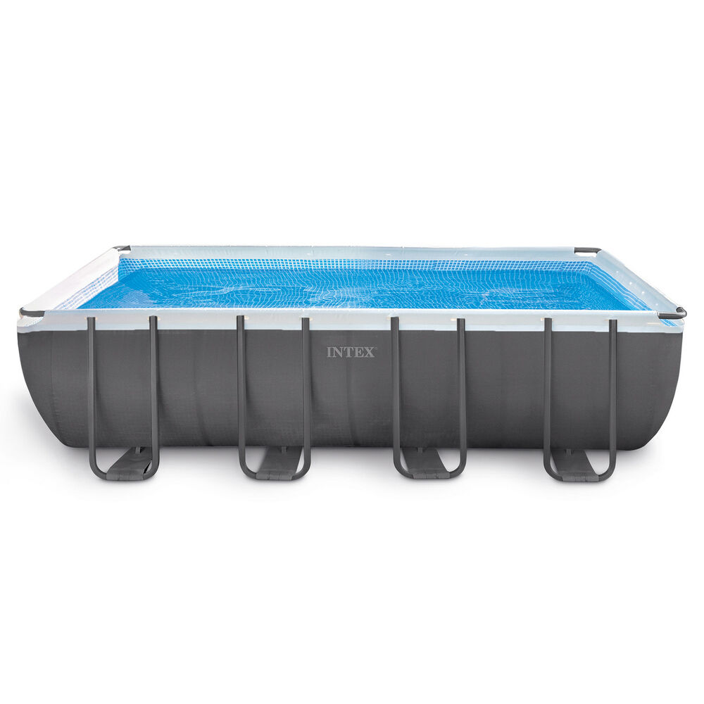 Intex 18 39 x 9 39 x 52 ultra frame rectangular above ground pool pump 28351eh ebay for Intex rectangular swimming pool