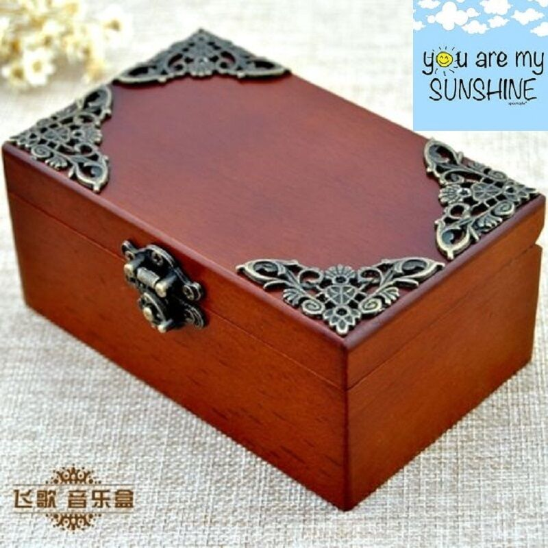 vintage wood rectangle jewelry music box you are my sunshine ebay. Black Bedroom Furniture Sets. Home Design Ideas