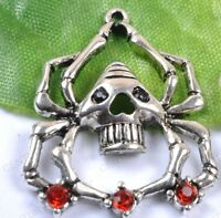 NP831 lots 10pcs Tibetan Style Antiqued Silver Tone Spider Pandent Charms 33MM