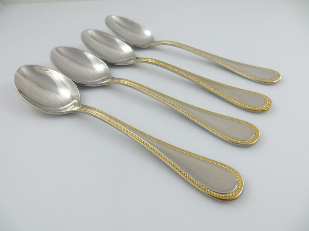 4 Teaspoons Beaded Antique Gold Towle Stainless Steel