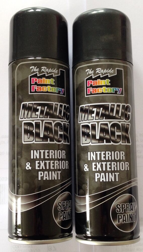 2 X Metallic Black Spray Paint Interior Exterior Spray Aerosol Can 250ml Ebay