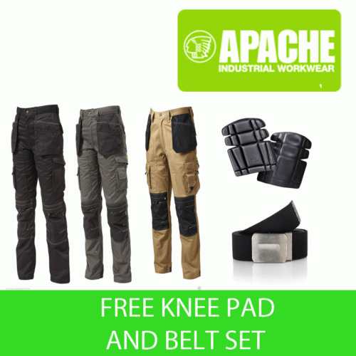 Apache Knee Pad Holster Work Trouser APKHT Black Grey Stone - Knee Belt Set inc