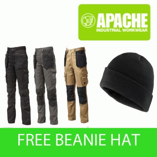 Apache Knee Pad Holster Work Trouser APKHT Black Grey Stone - Beanie Hat inc