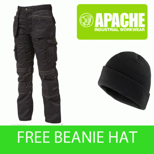 Apache Black Knee Pad Holster Work Trouser APKHT- BLACK- Hat Included