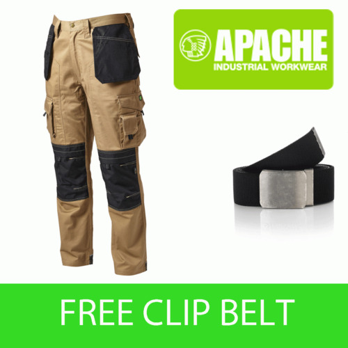 Apache Knee Pad Holster Work Trouser APKHT- STONE - Belt Included