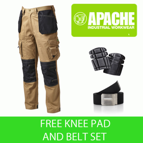 Apache Knee Pad Holster Work Trouser APKHT- STONE - Knee Pads & Belt Included