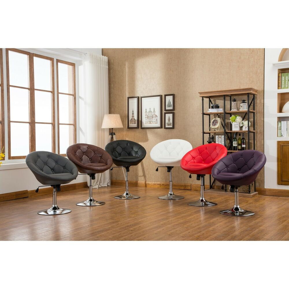 Noas Contemporary Bonded Leather And Chrome Round Tufted