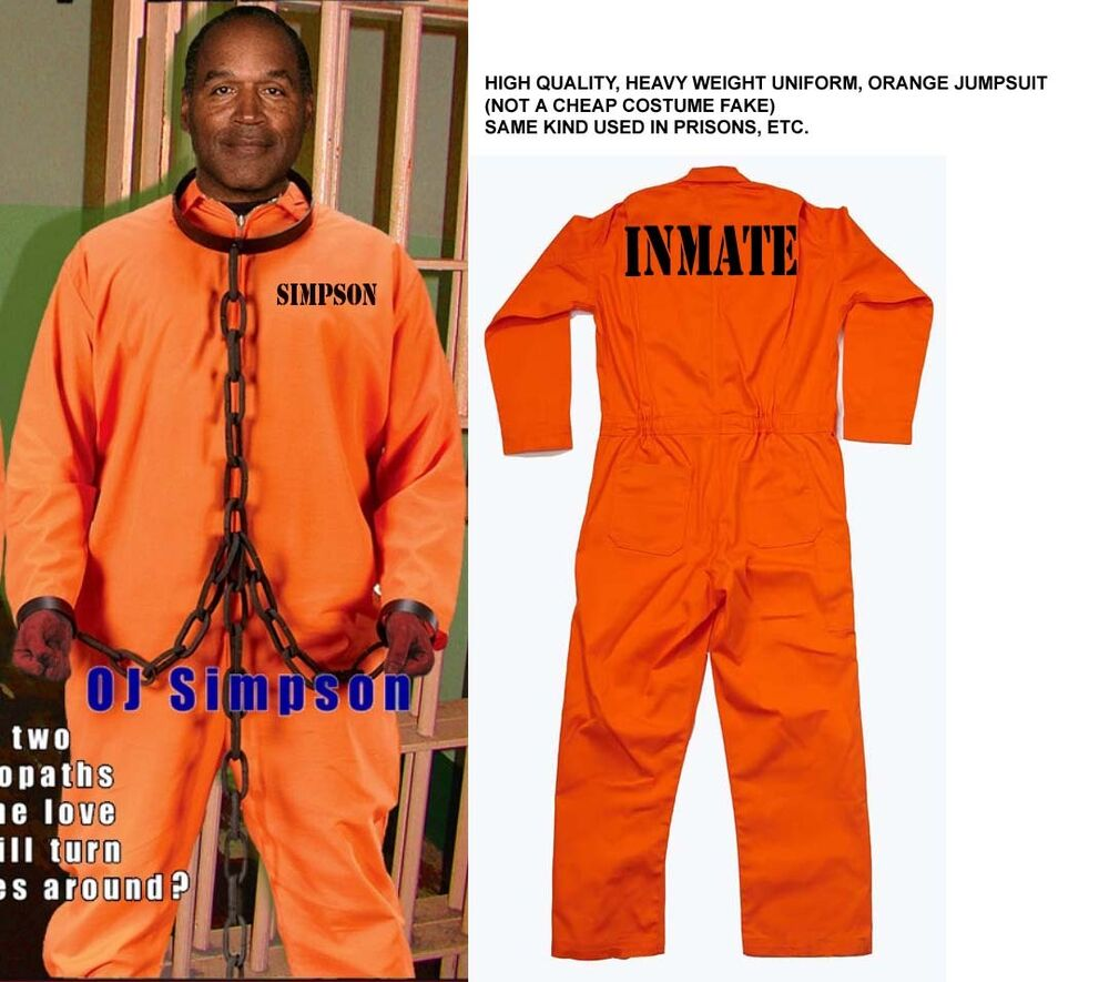 OJ SIMPSON Orange Inmate JUMPSUIT OUTFIT Prison Jail Halloween Costume