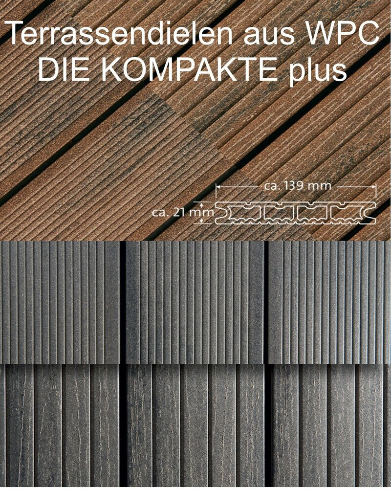 wpc terrassendiele die kompakte plus von deutschen hersteller naturinform ebay. Black Bedroom Furniture Sets. Home Design Ideas