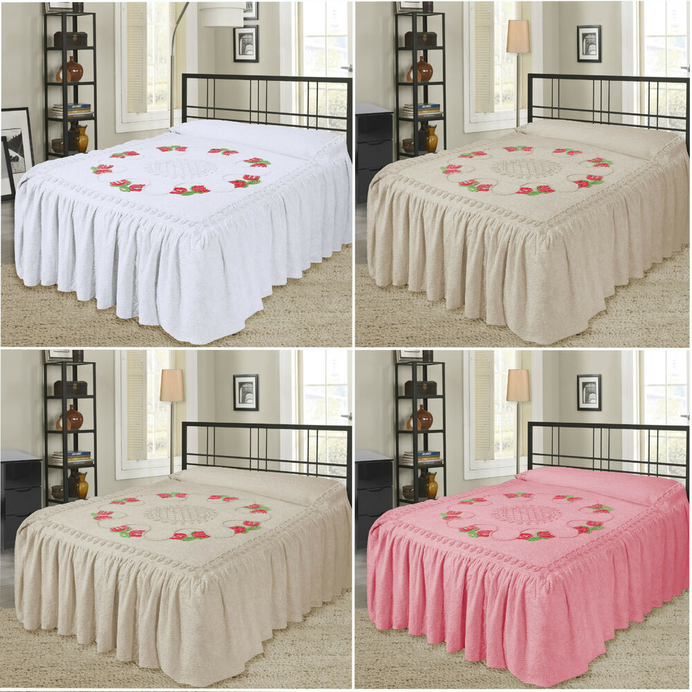 luxury 100 cotton candlewick fitted traditional bedspread. Black Bedroom Furniture Sets. Home Design Ideas