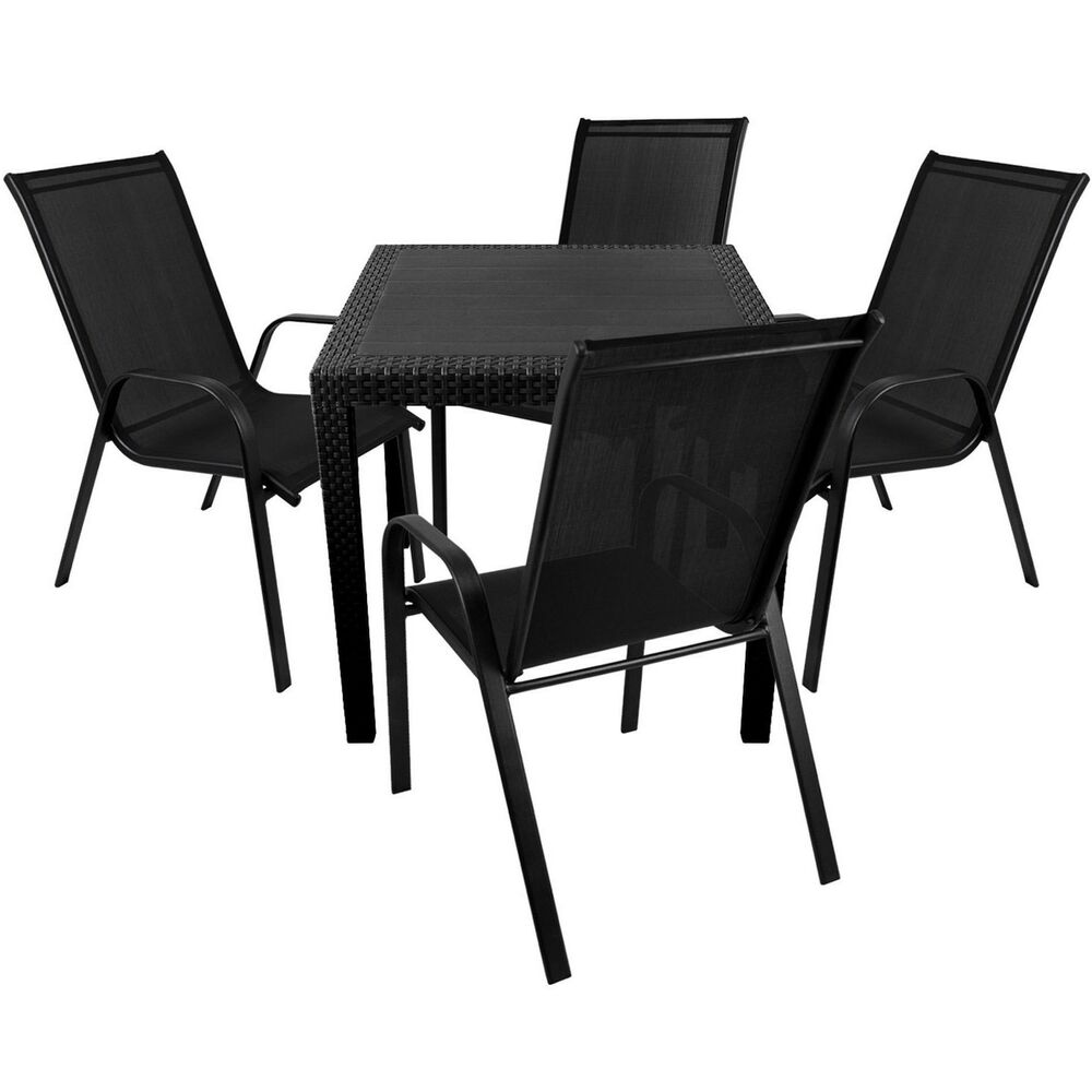 gartengarnitur balkonm bel set 5tlg tisch rattan look 79x79cm 4x stapelstuhl 4260482792138 ebay. Black Bedroom Furniture Sets. Home Design Ideas