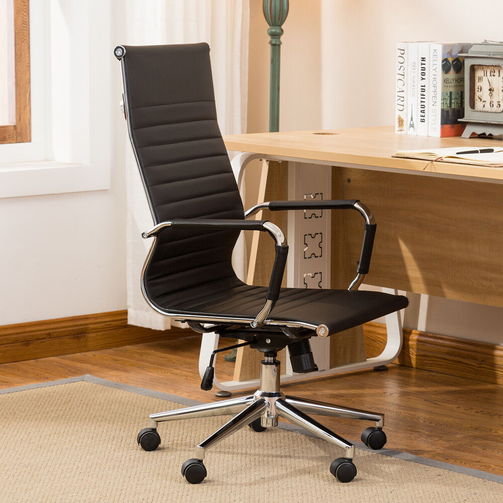 Office Furniture Bench: Ergonomic Ribbed PU Leather High Back Executive Computer