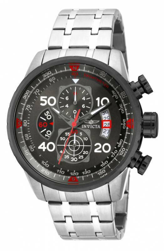 Invicta 17204 Men's Aviator Chronograph Gunmetal Dial