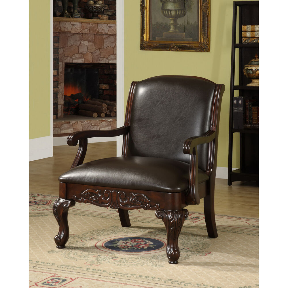 Furniture of america antique dark cherry accent chair ebay for Furniture of america
