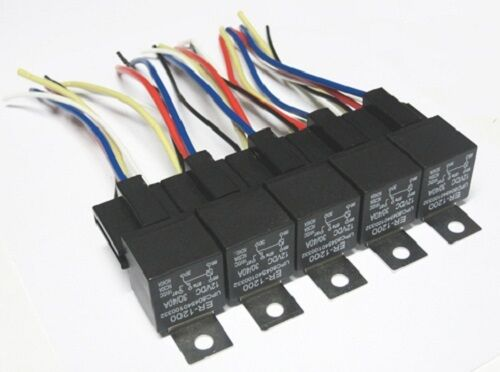 5 Pack  40 Amp Relay  U0026 Wiring Harness Spdt 12 Volt