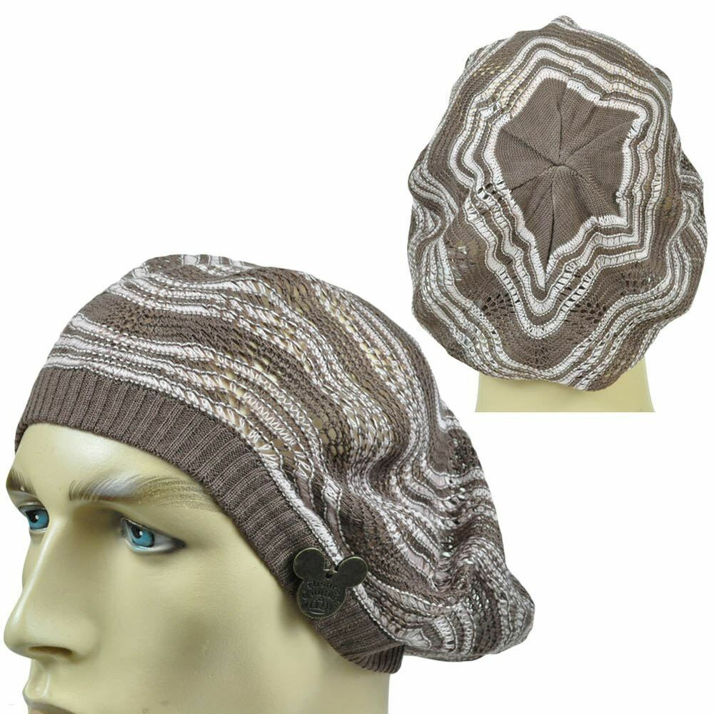 Details about Disney Couture World Land Thin Open Weave Slouchy Tami Beret Knit  Beanie Hat 73b93a5d909