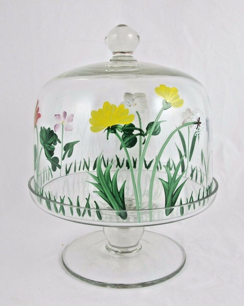 small glass cake cheese stand with cover hand painted floral design ebay. Black Bedroom Furniture Sets. Home Design Ideas