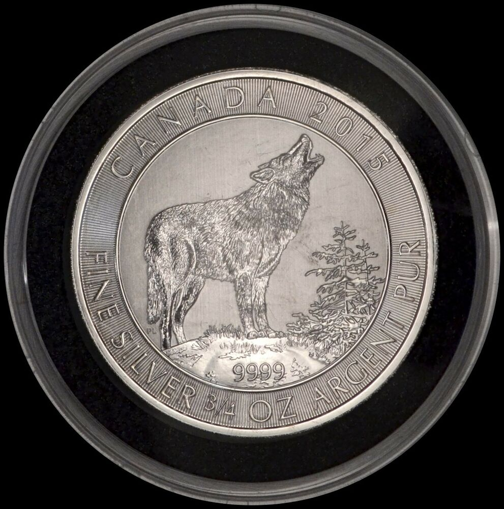 2015 Canadian Wildlife Grey Wolf 3 4 Oz 9999 Silver 2