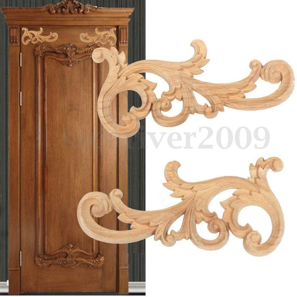 Wood carved corner onlay applique unpainted furniture home for Applique furniture decoration