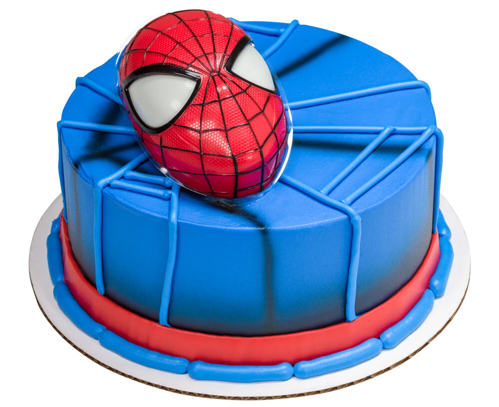 Spiderman Head Cake Topper w/Light Up Eyes & 12 Cupcake ...