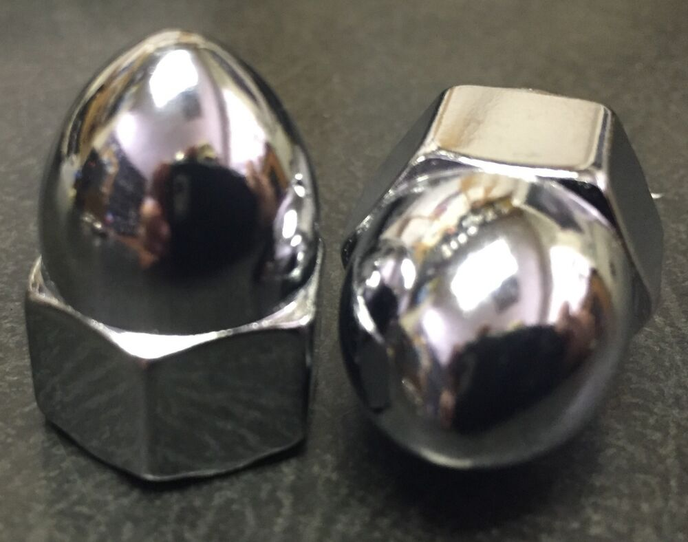 Chrome Acorn Nuts Size S 10 24 To 1 2 20 Sold Each With