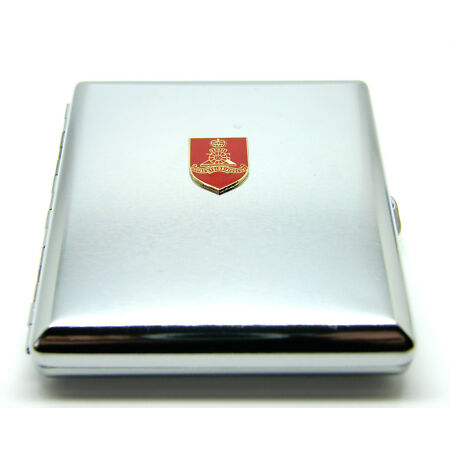 img-THE ROYAL ARTILLERY ARMY BADGE CIGARETTE CASE BOX SILVER BRUSHED PLATED BOXED