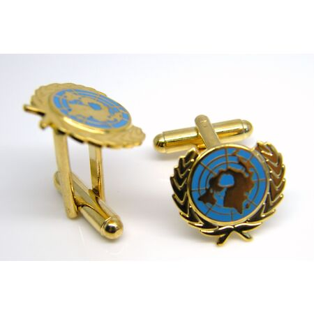 img-THE UNITED NATIONS UN BLUE BADGE CUFFLINKS ARMY MILITARY ENAMEL GIFT IN BOX