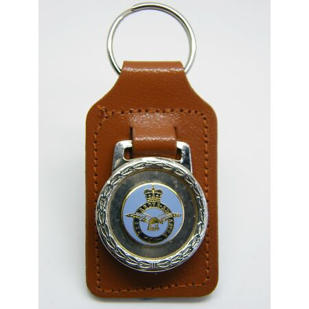 img-THE ROYAL AIR FORCE RAF BADGE MILITARY DETAIL LEATHER KEYRING KEY FOB GIFT