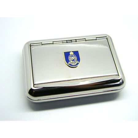 img-THE ROYAL HORSE ARTILLERY ARMY BADGE METAL CHROME PLATED TOBACCO TIN MILITARY