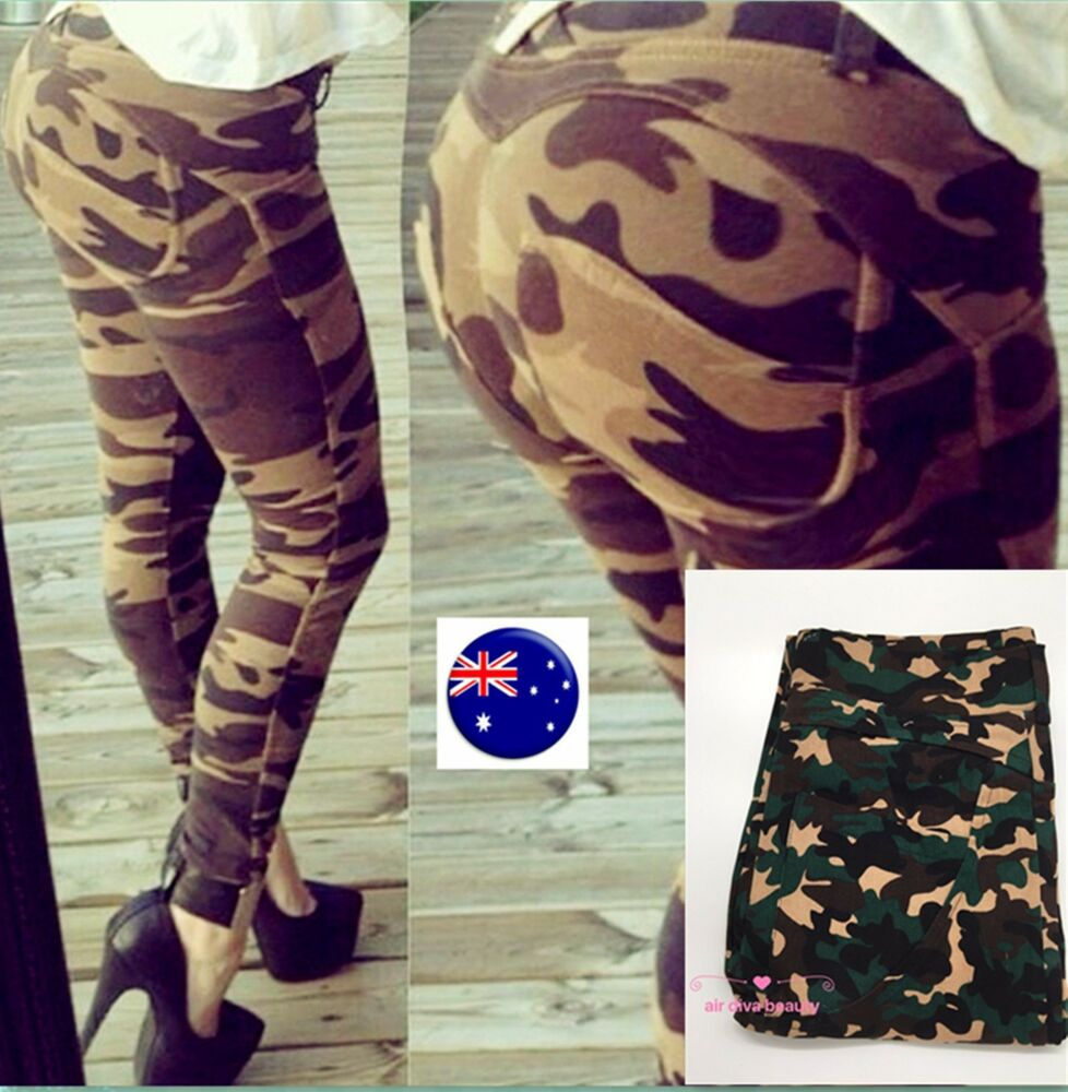 Details about Women Lady Sexy Army Military Camouflage party Green Camo  Skinny Pants Trousers