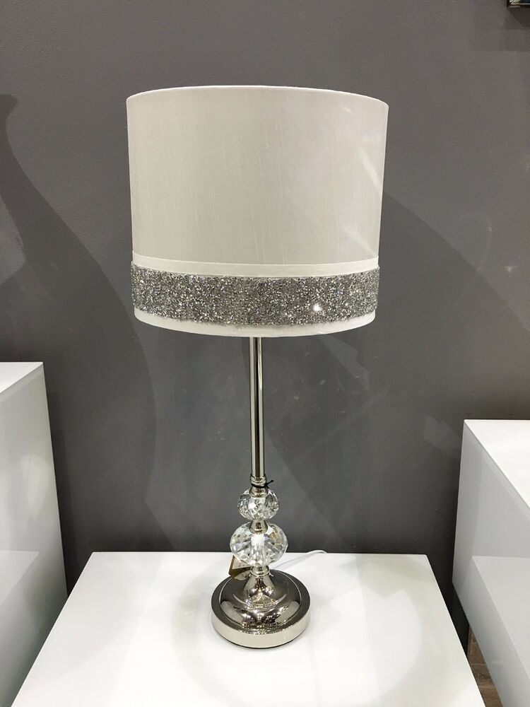 White Chrome Amp Crystal Silver Diamante Sparkle Bedside