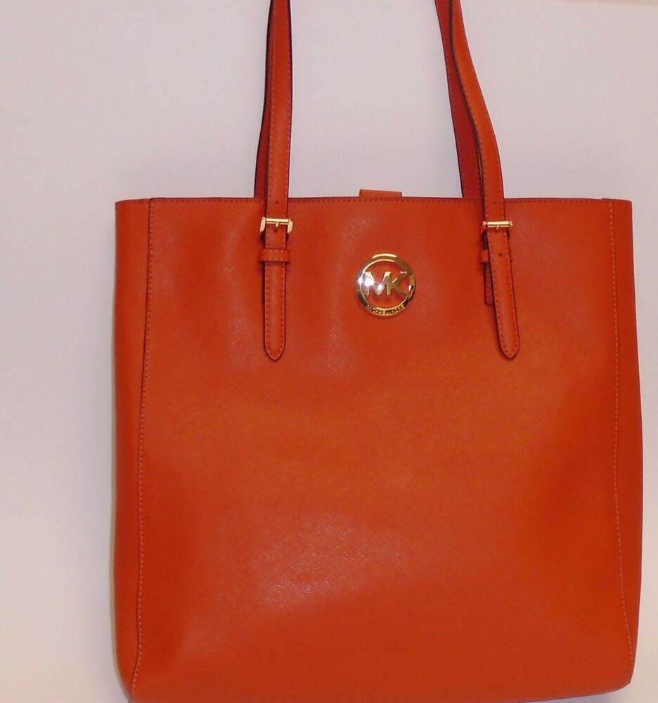 d4df24fe470b Details about NEW MICHAEL KORS JET SET TRAVEL BURNT ORANGE SAFFIANO LEATHER  TOTE