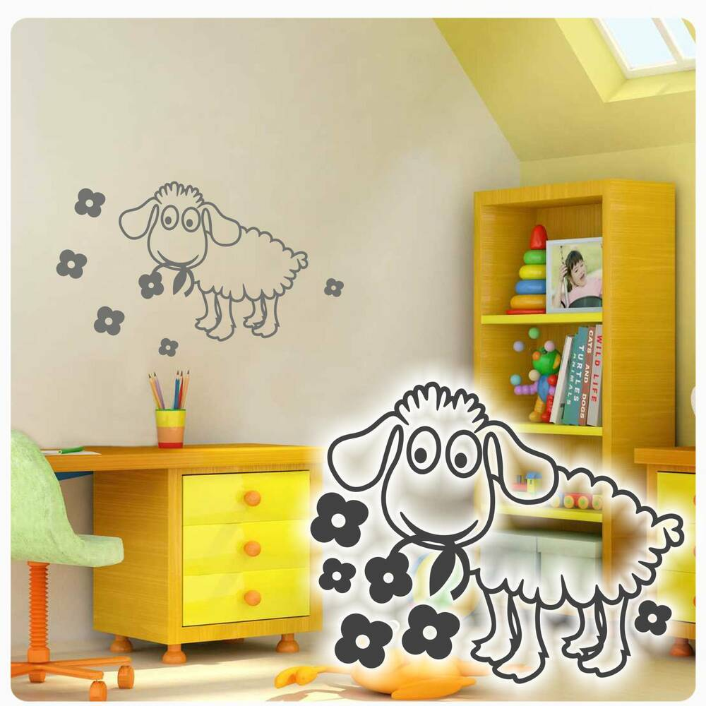 wandtattoo schaf blumen kinderzimmer wandaufkleber aufkleber kinder baby w4005 ebay. Black Bedroom Furniture Sets. Home Design Ideas