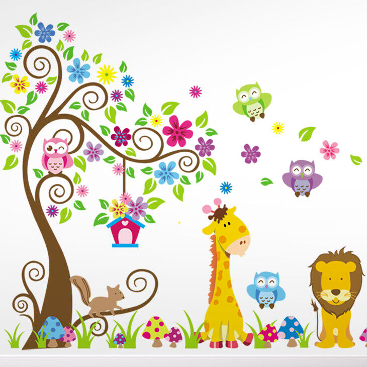 wandtattoo wandsticker wandaufkleber kinderzimmer wald tiere blume kinder w3319 ebay. Black Bedroom Furniture Sets. Home Design Ideas