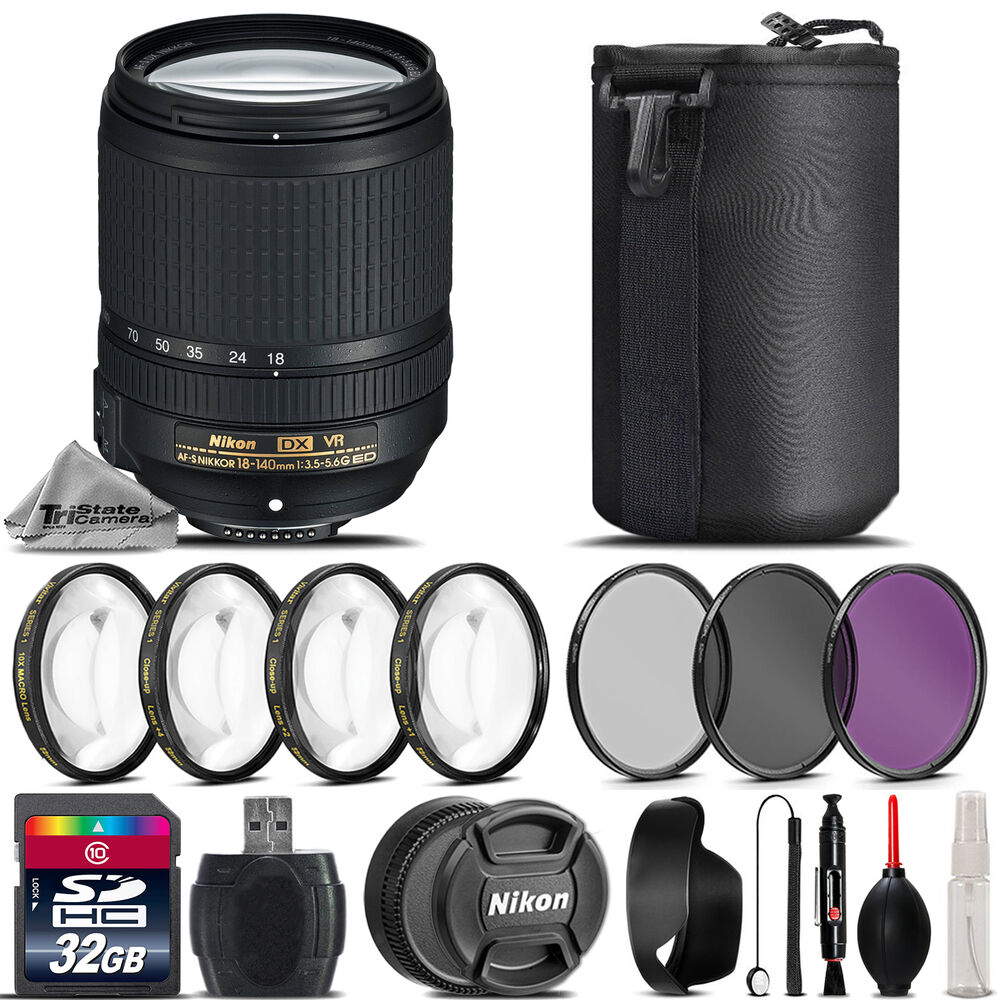 nikon af s dx nikkor 18 140mm 3 5 vr lens 4pc macro kit uv cpl fld filters ebay. Black Bedroom Furniture Sets. Home Design Ideas
