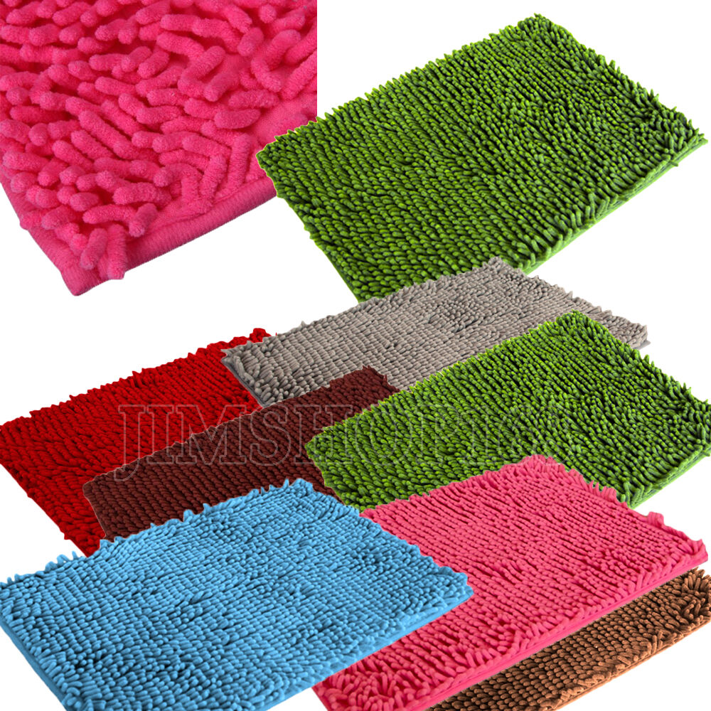 Soft Shaggy Non Slip Absorbent Bath Mat Bathroom Shower