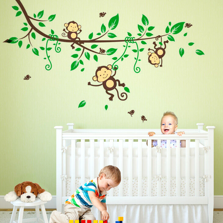 wandtattoo wandsticker wandaufkleber kinderzimmer ast baum affe baby wald w3315 ebay. Black Bedroom Furniture Sets. Home Design Ideas