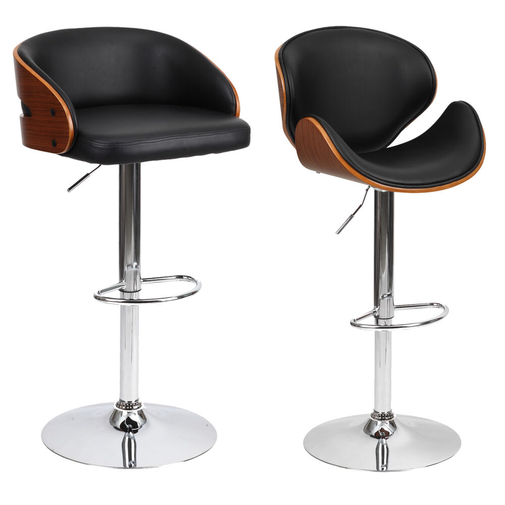Barstool Chair Walnut Bentwood Faux Pu Leather Swivel