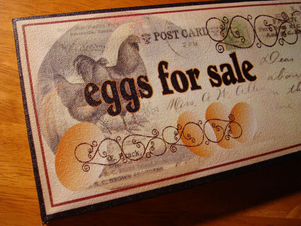 EGGS FOR SALE EGGS Country Rooster & Hen Chicken Kitchen