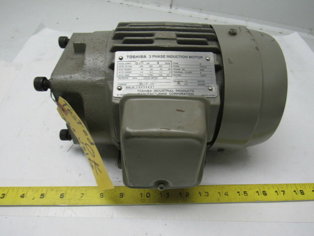 Toshiba electric induction motor 200 220v 3ph 1720 for 1 2 hp induction motor
