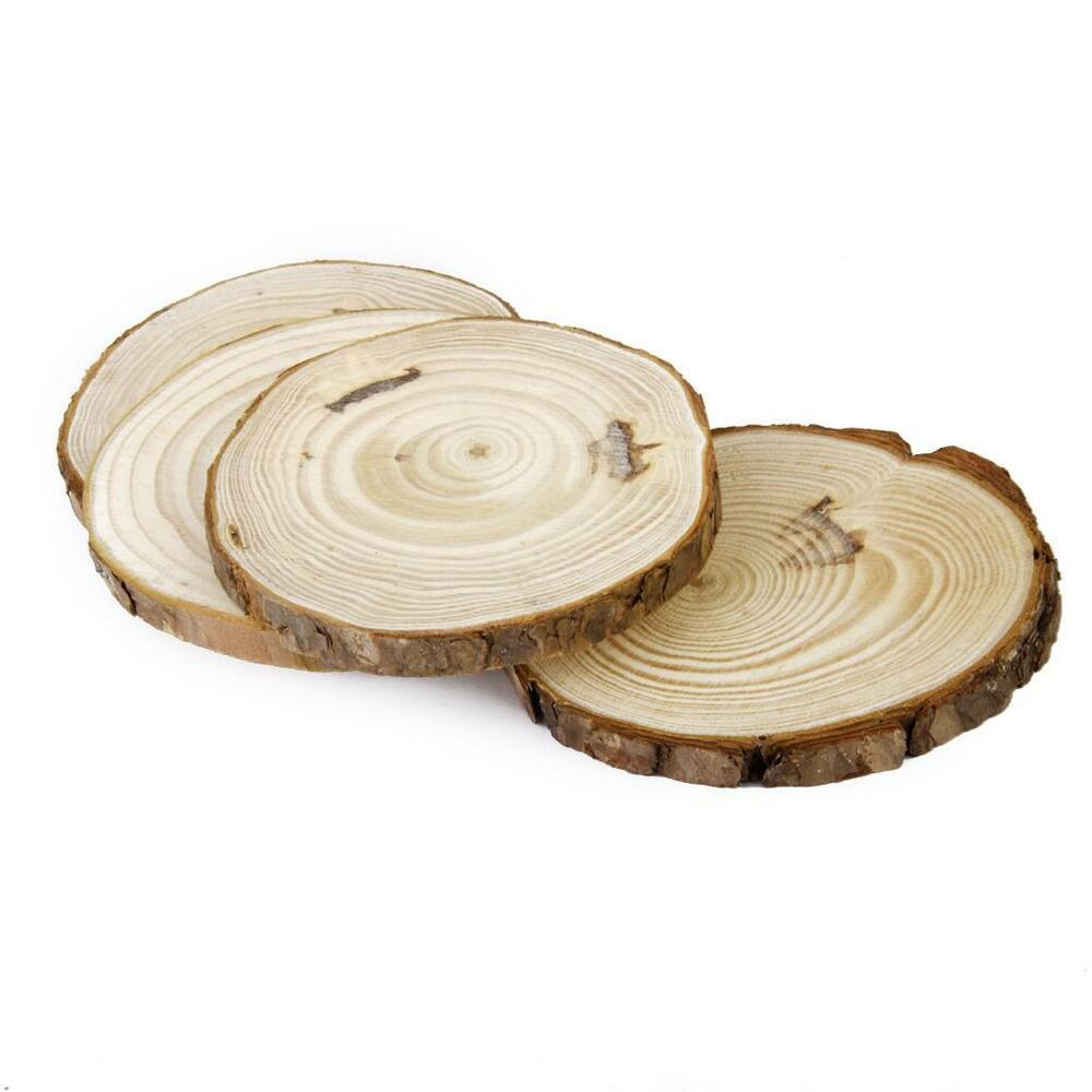 10 Round Wooden Log Slice Natural Tree Bark Table Decor ...