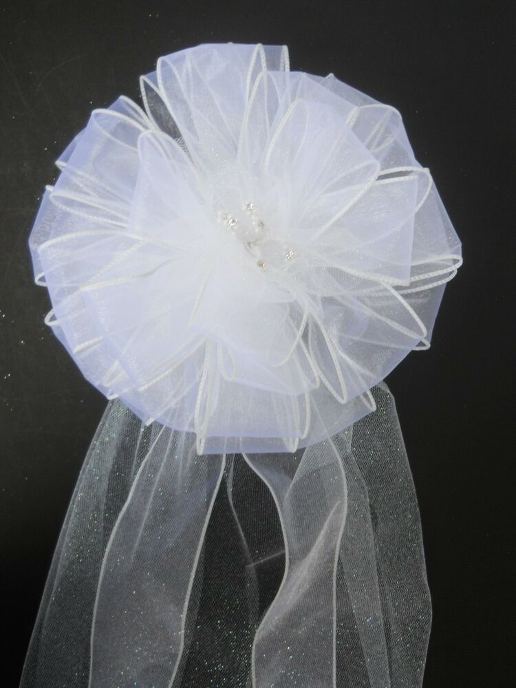 Wedding pew bow reception party decoration white ribbon - Bow decorations for weddings ...
