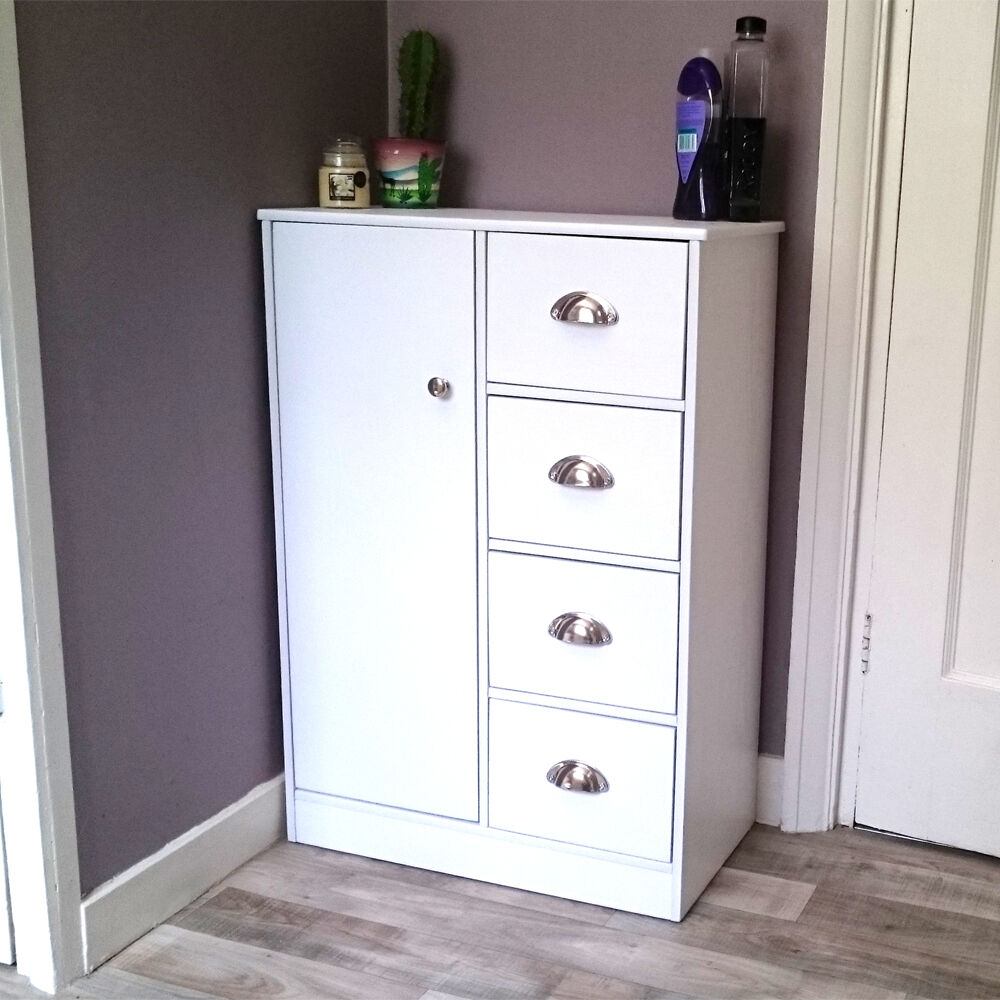 Bathroom Storage With Drawers: Bathroom Cabinet White Chest Of Drawers Sideboard Wooden