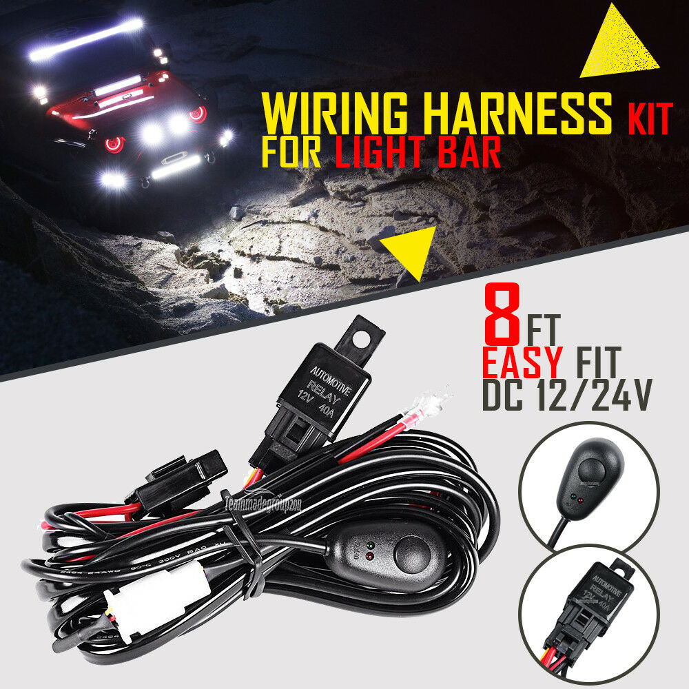 led hid fog spot work driving light wiring harness kit 12v 40a switch relay fuse ebay